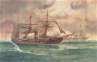 a civil war battle between a confederate and union navy warships by george frederick gregory