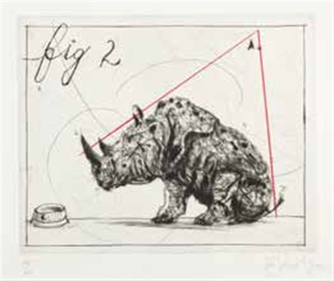 three rhinos fig 2 dunce by william kentridge