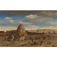 view of the south of the necropolis in cairo with the citadel in the background by prosper georges antoine marilhat