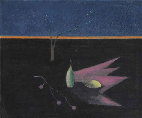 still life with a landscape by craigie aitchison