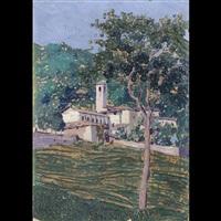veduta di borgo con chiesa in trentino by ernesto giuliano armani