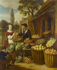 a vegetable seller in a town square by jan victors