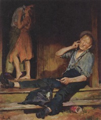 couple embracing in doorway, old man seated on cabin step by james avati