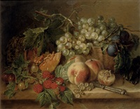 grapes, plums, peaches, raspberries, gooseberries and a pumpkin on a marble ledge by adriana johanna haanen