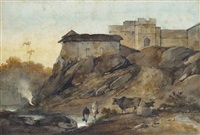 watercarriers by a ruined fort, bengal by george chinnery