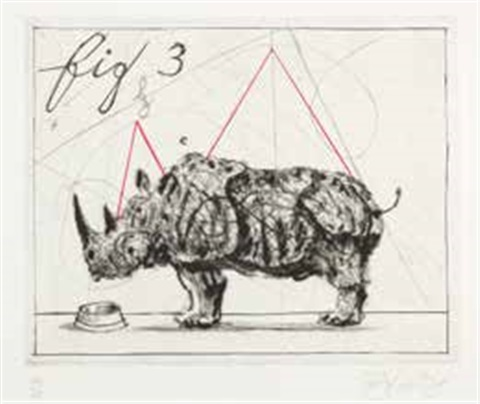 three rhinos fig 3 by william kentridge