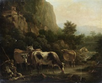 a shepherd and his dog grazing cattle before an italianate landscape by t. wrightson