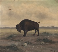 buffalo in a landscape by astley david middleton cooper