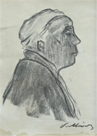 self portrait in profile by käthe kollwitz