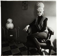 lady bartender at home with souvenir dog, new orleans by diane arbus