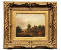 shepherd and sheep and further figures in a lane by thatched cottage by patrick nasmyth