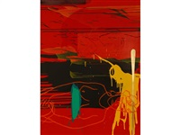 abstract study in yellow, green and red by bruce mclean