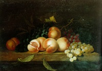 still life of grapes and peaches resting on a ledge by paul liegeois