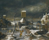 a winter landscape with figures skating, a horse-drawn sledge and a mill, amsterdam and the ij beyond by jan abrahamsz beerstraten