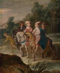 landschaft mit einer eleganten, berittenen gesellschaft by hans jordaens iii