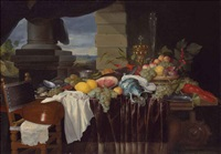 a pronk still-life with fruit and a lobster, a lute on a chair, a landscape seen through a colonnade beyond by jan pauwel gillemans the elder