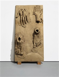 hands/feet panel (walking man) by thomas houseago