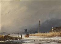 winterlandschaft in holland by johannes franciscus hoppenbrouwers