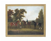 three hunters in a wooded landscape, with a huntsman and a groom by john nost sartorius