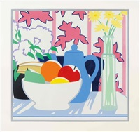 still life with fruits, flowers and floral fall paper by tom wesselmann