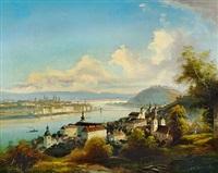 view of budapest with gellért hill and chain bridge by friedrich wilhelm jankowski