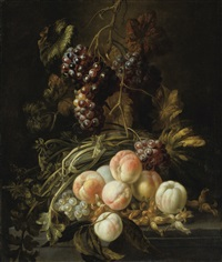 still life with peaches and grapes by french school (17)