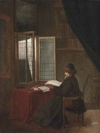 an old man seated at his desk before an open window, holding a book by jacobus vrel