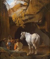 lagernde personen mit einem schimmel vor einer höhle by philips wouwerman