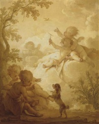 putti in a wooded landscape with a bird and a lap-dog by dirk van der aa