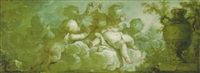 an overdoor: putti desporting on clouds by a vase on pedestal by dirk van der aa