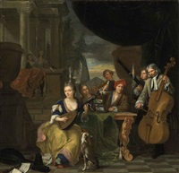 musicians on a terrace, playing lute, cello and oboe, in a classical architectural setting by balthasar van den bossche