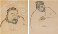 two portraits: alexander kuprin (+ maxim gorky, lrgr; 2 works) by viktor deni