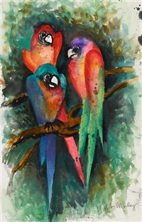 three parrots by malcolm morley