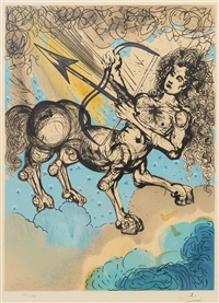 signs of the zodiac: sagittarius (together with text for sagittarius and taurus) by salvador dalí