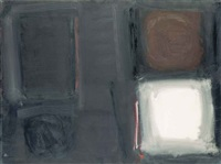 black painting with white squares: september by patrick heron