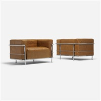grand comfort lounge chairs (pair) by pierre jeanneret