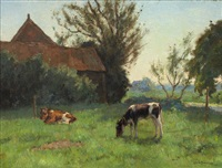 landschaft mit kühen auf der weide by louis soonius