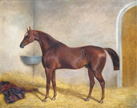 a hunter in a stable by george henry laporte