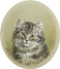 a kitten and a terrier (pair) by frank paton