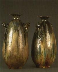 paire de vases de forme ovoïde by edgar aubry