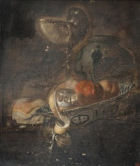nature morte aux fruits, verre et porcelaine de chine by juriaen van streeck