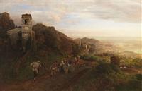 bei ravallo, bergstadt in der campagna by oswald achenbach
