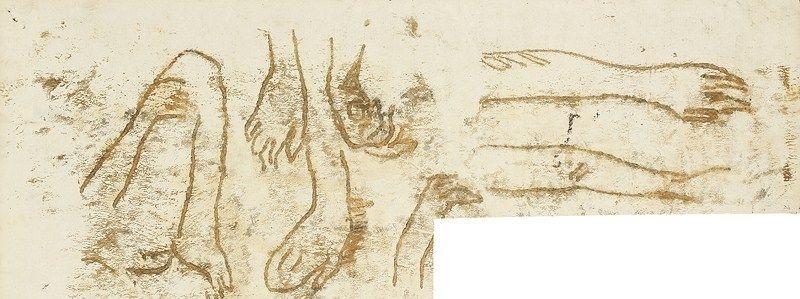 études de mains ou davant bras study by paul gauguin