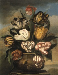 still life of tulips in vase by james (sillet) sillett
