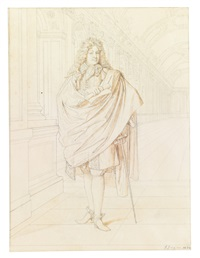 portrait of jean racine, full length, standing in the hall of mirrors at versailles by jean-auguste-dominique ingres