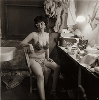 stripper, miss sata lyte, in her dressing room with glasses atlantic city, n.j by diane arbus