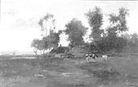 landschap met koeien bij een sloot by johan hendrik kaemmerer