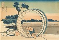 le tonnelier sur fond du mont fuji by katsushika hokusai