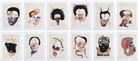 histology of the different classes of uterine tumors (12 works) by wangechi mutu