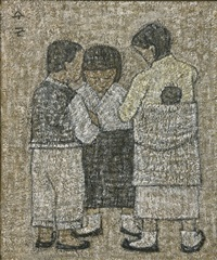 carry a baby on girl's back and chidren by park soo-keun